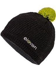 Bonnet d'hiver Eleven Noir/Vert–Bonnet avec tricotée laine mérinos Part