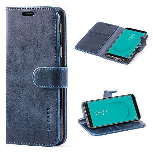 Mulbess Handyhülle für Samsung Galaxy J6 2018 Hülle, Leder Flip Case Schutzhülle für Samsung Galaxy J6 Tasche, Dunkel Blau