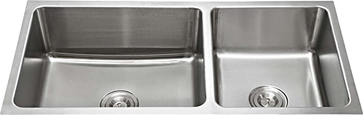 SILVERLINE Stainless Steel Double Bowl Sink, Matt