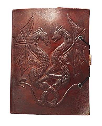 Zap Impex ® Handgemachtes echtes Lederalbum, geprägtes Doppel-Drachen-Fotoalbum, Galeriealbum, Leder-Tagebuch-Album in handgefertigt in Indien (7 x 5) (Leder Echtes Album)