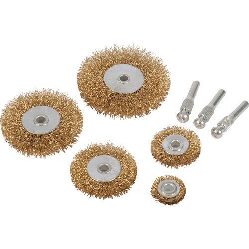 Silverline 228567 Jeu de 5 brosses circulaires et tiges Queue de 6 mm