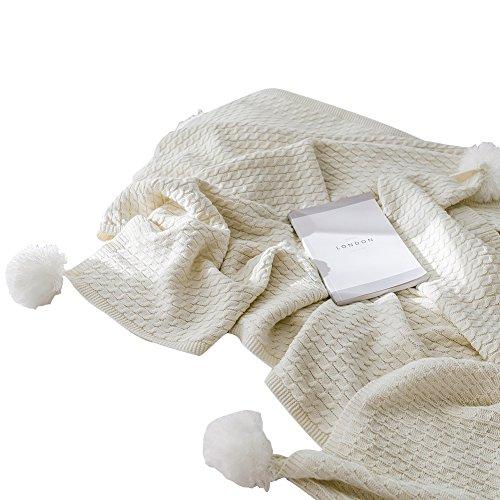 HYRL Carpets Soft Throw Decke Premium Cosy Cotton Stricken Plain Decke Für Couch Schlafsofa und Outdoor Beach Travel 51 × 67In/130X170cm,White