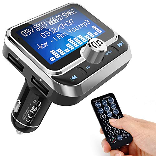 FM Transmitter [2019], Tinzzi 1,8 Zoll Bildschirm Car MP3 Player, Unterstützt Handsfrei Anrufen/Fernbedienung/8 Sprachen, 3.5mm AUX Auto Radio Adapter, Dual USB Ladegerät Bluetooth Car Kit for Handy Car Kit Mp3-player