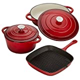 Cast Iron Kitchen Pan Set Cookware Oven Proof Skillet Pan & Casserole Dishes with Self Basting Lids by Cooks Professional (Red)
