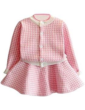 Kobay Kleinkind Kinder Baby Mädchen Outfit Kleidung Plaid Gestrickte Pullover Mantel Tops + Rock Set