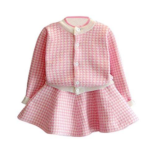 Kobay Kleinkind Kinder Baby Mädchen Outfit Kleidung Plaid Gestrickte Pullover Mantel Tops + Rock Set (7/2-3Jahr, Rosa) (Mädchen Rosa Mantel)