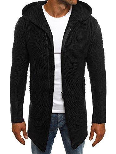 OZONEE Herren Strickjacke Kapuzenpullover Pullover Hoodie Stricken Sweatshirt MADMEXT 2124S M SCHWARZ