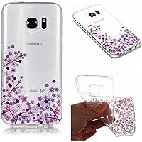 QFUN Funda Samsung Galaxy S7 Edge Silicona Transparente, Suave Carcasa Flexible con Dibujos [Flor de Cerezo Morado] Ultra Slim Fina Gel TPU Bumper Case Anti-Arañazos Antigolpes Cubierta