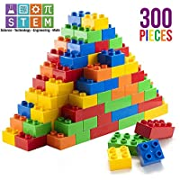 Prextex 300 Piece Classic Big Building Blocks STEM Toy Bricks Set Compatible with All Major Brands Bulk Bricks Set for All Ages