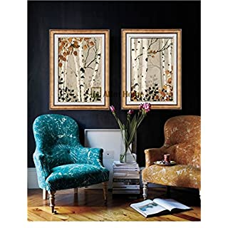 ABM Home -Brich Tree(51x 66cm 2pcs set) Wall Art, Large Wall Picture Frame, Vintage Style,Framed Canvas, Large Poster (Gold A)
