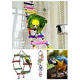 Lot de 3 jouets à mâcher super-résistant morsure jouet d'oiseaux en bois avec grelots escalier perchoir multicolore jouet de cage pour perruches perroquets oiseaux etc.