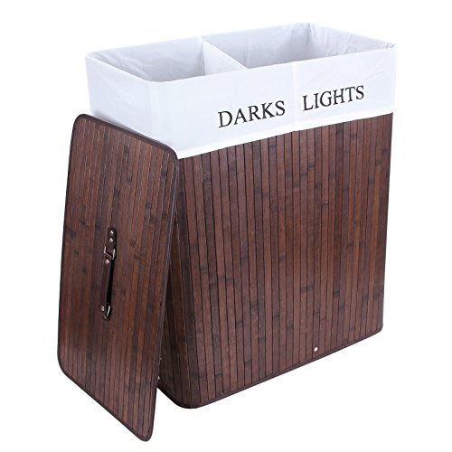 Songmics Groß 100L Bambus Faltbar Wäschekörbe Bodenkorb mit 2 Fächern LIGHTS&DARKS Wäschebox Wäschesammler Wäschetonne Wäschewagen 3 Griffe LCB64Z