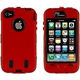 itronik Outdoor Schale Robot Case Schutzhülle Stoßfest für iPhone 4 4S schwarz / rot