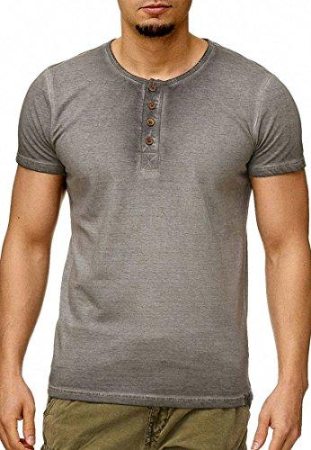Indicode Herren Keswick T-Shirt mit Grandad-Ausschnitt Tee Kurzarm 100% Baumwolle Regular Fit Lt Grey S (Baumwolle Kurzarm Tee)