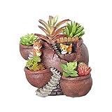 Xueliee - Maceta de plantas creativas decorada con mini jardín de hadas y casa dulce para decoración de vacaciones y regalo, A2