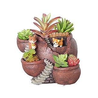 Xueliee – Maceta de plantas creativas decorada con mini jardín de hadas y casa dulce para decoración de vacaciones y regalo, A2