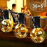 LED Lichterkette außen G40 12.5M Lichterkette mit 36 Birnen, IP44, MYCARBON Outdoor/Indoor Lichterkette Glühbirnen mit stecker Deko für Zimmer, Bar, Garten, Balkon, Party (5 Ersatzbirnen, Warmweiß)