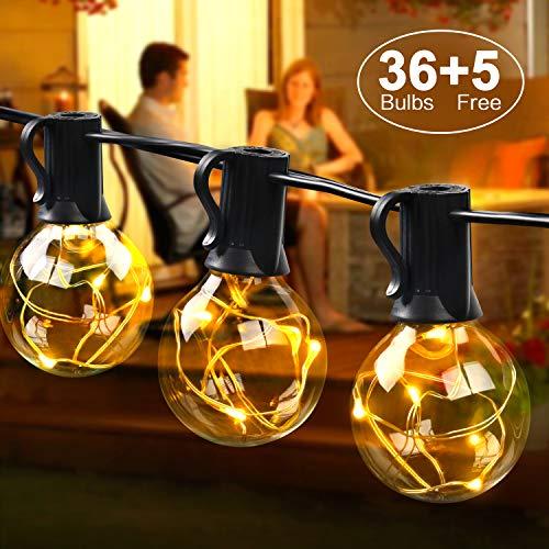 Mycarbon catena luminosa led esterno 3w luminarie natalizie 36 bulbi sostituibili senza surriscaldamento luci da esterno led illuminazione per natale festa cena inclusi 5 lampadine di ricambio dc 3v