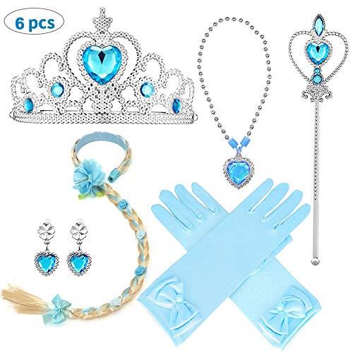 Vston elsa princess vestito coroncina bambina per ragazze sambuco bacchetta magica fascia per parrucca di fiori cadeau set couronne festa di compleanno carnevale cosplay party bleu