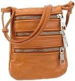 ADAX Adax mobile bag - Smartphone Case de piel de becerro mujer, color naranja, talla 12x15x1 cm (B x H x T)