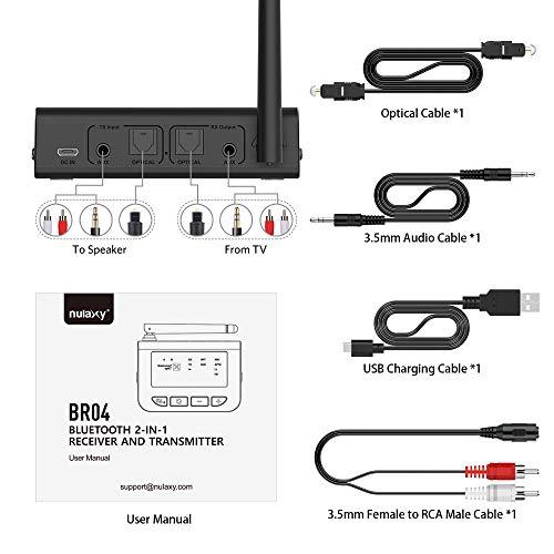 Nulaxy aptX HD Long Range Bluetooth Transmitter for TV, Bluetooth 5.0 Transmitter Receiver Adapter for PC Audio, Home Stereo, Optical Digital, AUX & RCA, No Lip Sync Delay - BR04