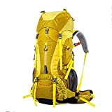 60L+5LWaterproof Outdoor Sport Hiking Trekking Camping Travel Backpack Pack Mountaineering Climbing Knapsack with Rain Cover , yellow
