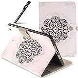 BtDuck iPad Mini Hülle, PU Leder Tasche Schutzhülle iPad Mini/iPad Mini 2/iPad Mini 3 Handyhülle Tasche mit Magnetverschluss ID Karte Slots Soft Silikon Backcover - Retro Mandala Blume
