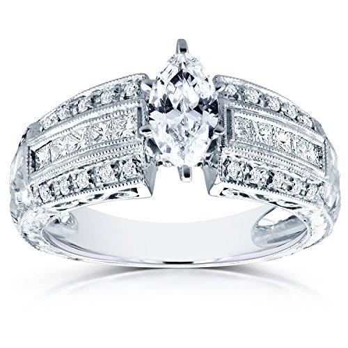 Marquise Anello Di Fidanzamento Con Diamante 13/5CTW in oro bianco 14K (Certificato) _ 8.5