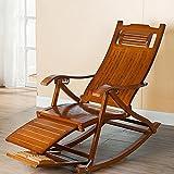 DUO Wooden Lounging Rocker Deck Schaukelstuhl Relaxing Recliner Lounge Sitz/verstellbare Fußstütze und abnehmbare Kissen