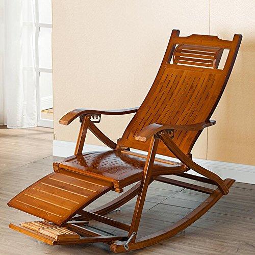 Duo Wooden Lounging Rocker Deck Schaukelstuhl Relaxing Recliner Lounge Sitz/verstellbare Fußstütze und abnehmbare Kissen -