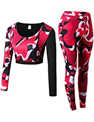 Zhuhaitf Women Tracksuit Outfits, Camouflage Fitness Workout Long Sleeve Crop Tops + High Waist Tights Leggings Sweatsuits
