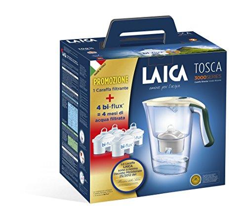 comprare on line Laica Kit J9059 Caraffa filtrante per il trattamento dell'acqua Carmen Tosca con 4 Filtri Bi-flux, Crema e Verde Scuro prezzo