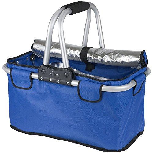 Genius A14115 Bolsa de Compras Cesta de la Compra Aluminio, Negro, Azul - Bolsas de Compras (Cesta de la Compra, Aluminio, Negro, Azul, Aluminio, Tela, De plástico, 25 kg, 26 L, 480 mm)