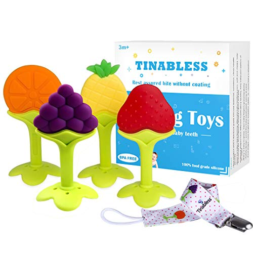 Baby-Beißring,Tinabless Baby-Zahnen Obstbaum Silikon-Zehne für Kleinkind Jungen Mädchen BPA-freie Zahnen Set mit 4 Stück (Baum)