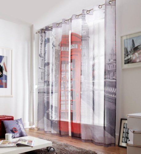 LONDON STREET PHONE BOX 58X90 RING TOP FULLY LINED CURTAINS #RETSNIMTSEW *AS*