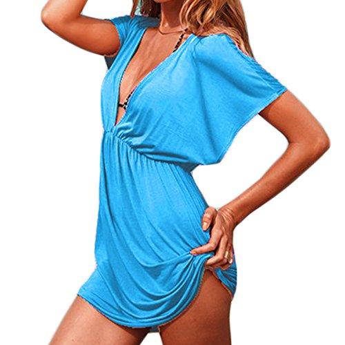 Frauen Mode Tiefe V-Ausschnitt Kurzarm Fledermausärmel Beiläufige Bikini Bluse Beachwear Minikleid Freizeitkleid Strandkleider Kleid Freizeitkleider Blau