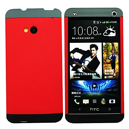 Heartly Double Dip Hard Shell Premium Back Case Cover For HTC One M7 Single Sim - Grey Red Black  available at amazon for Rs.499