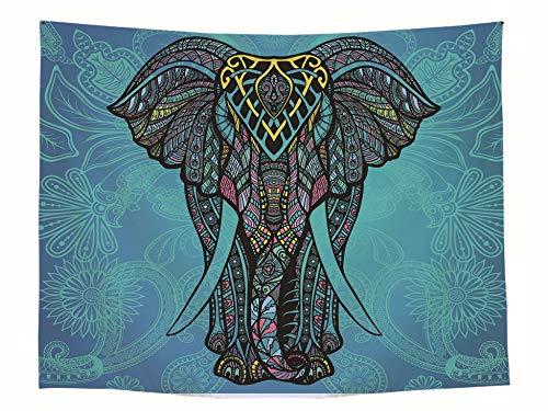 DDFHK Colorido Estampado de Elefantes Tapicería Colgante de Pared Decoración Colgante Rectangular...