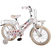 Bicicleta niña de 16 pulgadas 4 5 6 años ruedas extraíbles portaequipajes de techo delantera y trasera blanco