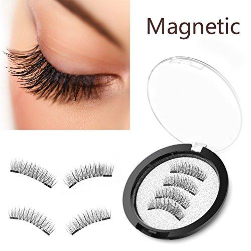 Qivange Magnétique Faux Cils, Faux cils 3D réutilisables sans colle Faux cils naturels à la main ultra-minces (motif long)