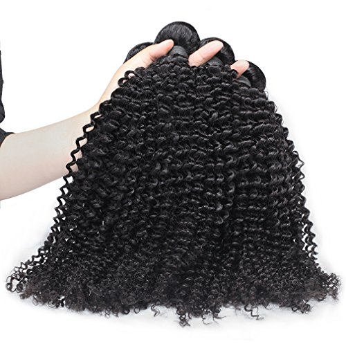 In Bundles Extensions Hair (Hot Queen Virgin Brazilian Hair 4 Bundles Kinky Curly Hair Solutions Weave Human Hair 400g Natural Color 8''-30'')