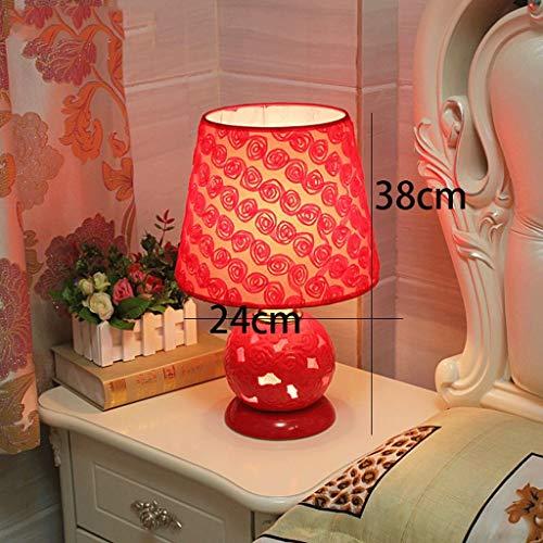ACJJJ Schreibtischlampe Europäischen Hochzeit Keramik Tischlampe Festliche Rot, Schlafzimmer Nightstand Lampe H38Cm * W24Cm