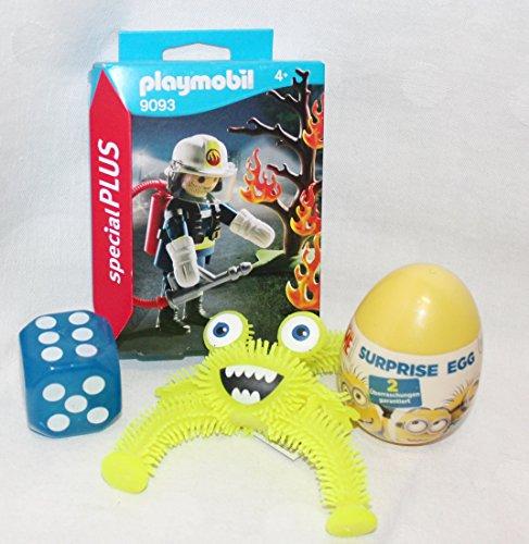 Playmobil Feuerwehr Löscheinsatz als Geschenk verpackt mit Minion Surprise Egg Ei blinkender Würfel & Monster Nikolaus ()