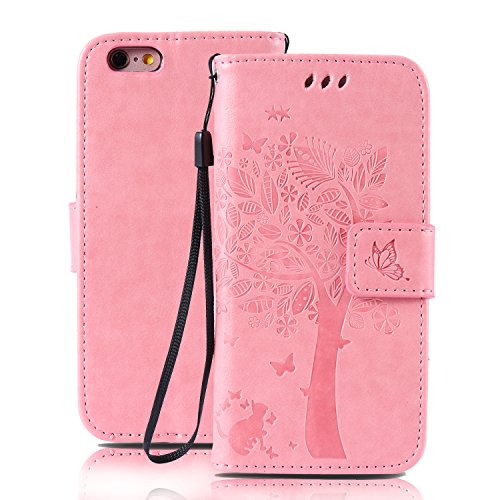 iPhone 6S Plus Hülle, iPhone 6 Plus Hülle, SpiritSun Ledertasche Schutzhülle für Apple iPhone 6 6S Plus (5.5 Zoll) Baum Muster Design Wallet Case Standfunktion und Kredit Kartenfächer - Lila Rosa