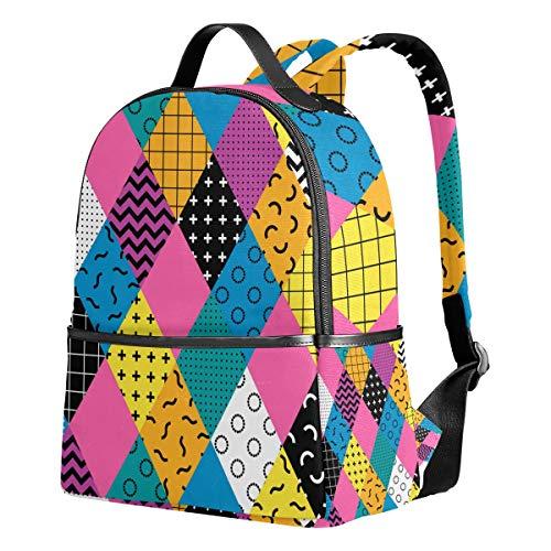 Ahomy Schulrucksäcke bunt geometrische Memphis Dreiecke Rucksack Schultertaschen für Mädchen Jungen