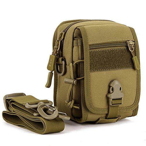 Military Tactical MOLLE wasserabweisend Gadget Tool, Organizer Tasche Taille Gürtel Valencia EDC Tasche Pack mit Schultergurt Wolf brown