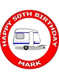 "7.5"" Caravan Birthday Cake Toppers Decorations Personalised on Edible Rice Paper - [Please use the 'Contact Seller' link to send us your personalised message for your topper.]"