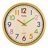 Foxtop Modernen Bunten Kinderwanduhr Stille Nicht-tickende Wanduhr, ohne Ticken Wanduhr, 30cm.