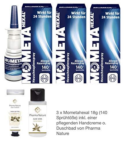 MometaHEXAL Heuschnupfenspray, 18 g - 3er Sparset inkl. Handcreme o. Duschbad (Aloe Vera) von Apotheken-Express
