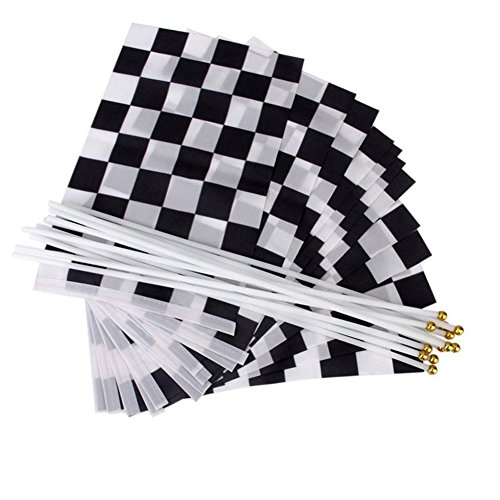 Nikgic 10 Piezas Blanco y Negro de Plaid Premium Waterproof Nylon Racing Flag Set Mano winken Racing Flag